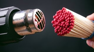 CAN YOU LIGHT THE MATCHES WITH THERMO GUN  11 Tricks & Life Hacks with Matches