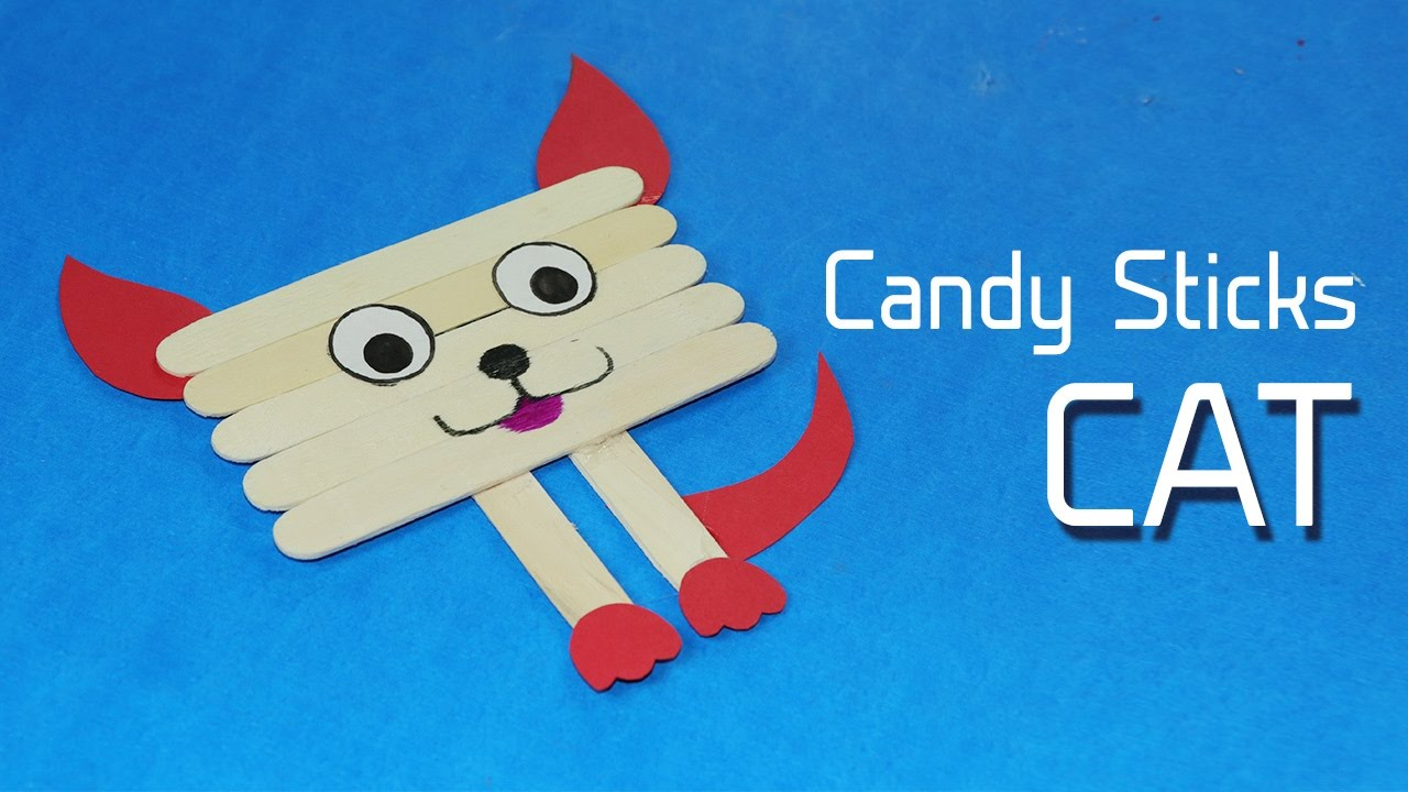 Popsicle cat fun also icecream stick crafts for kids face on rh youtube