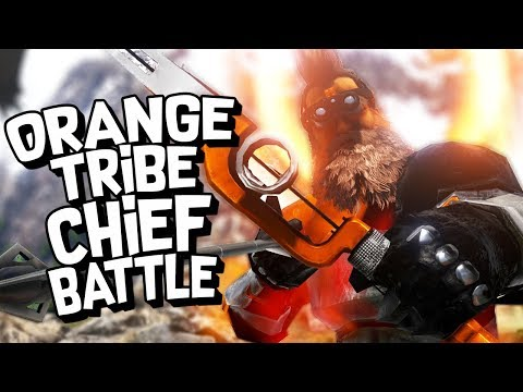 ARK Survival Evolved Ep #49 - BATTLE OF THE ORANGE TRIBE CHIEF (Modded Survival)