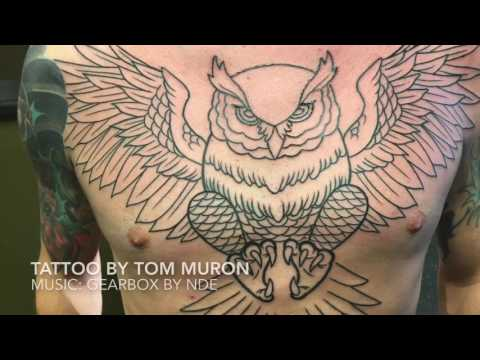 Men's chest tattoo. Music by NDE. Tattoo by Tom Muron. Part 2. Time lapse.