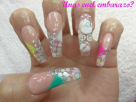Uñas Para Baby Shower Uñas En El Embarazo Babyshower Nails Luliz Nails