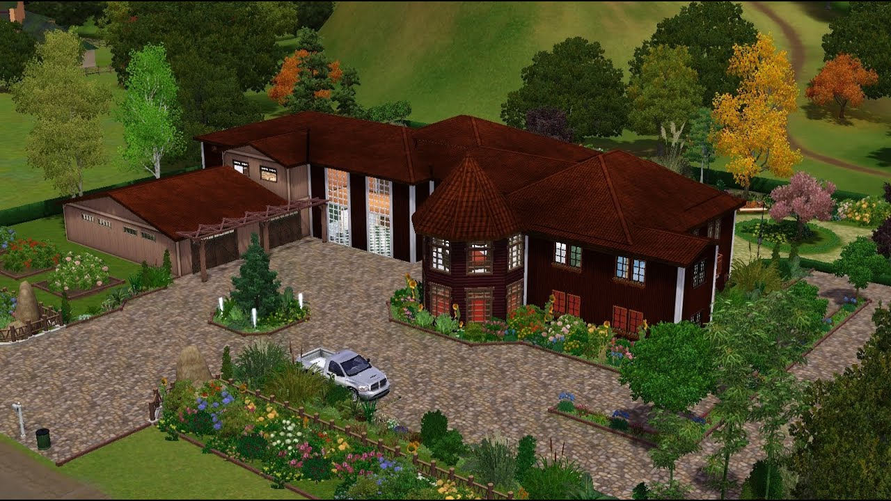 Sims 3 big ranch house youtube for Big ranch house