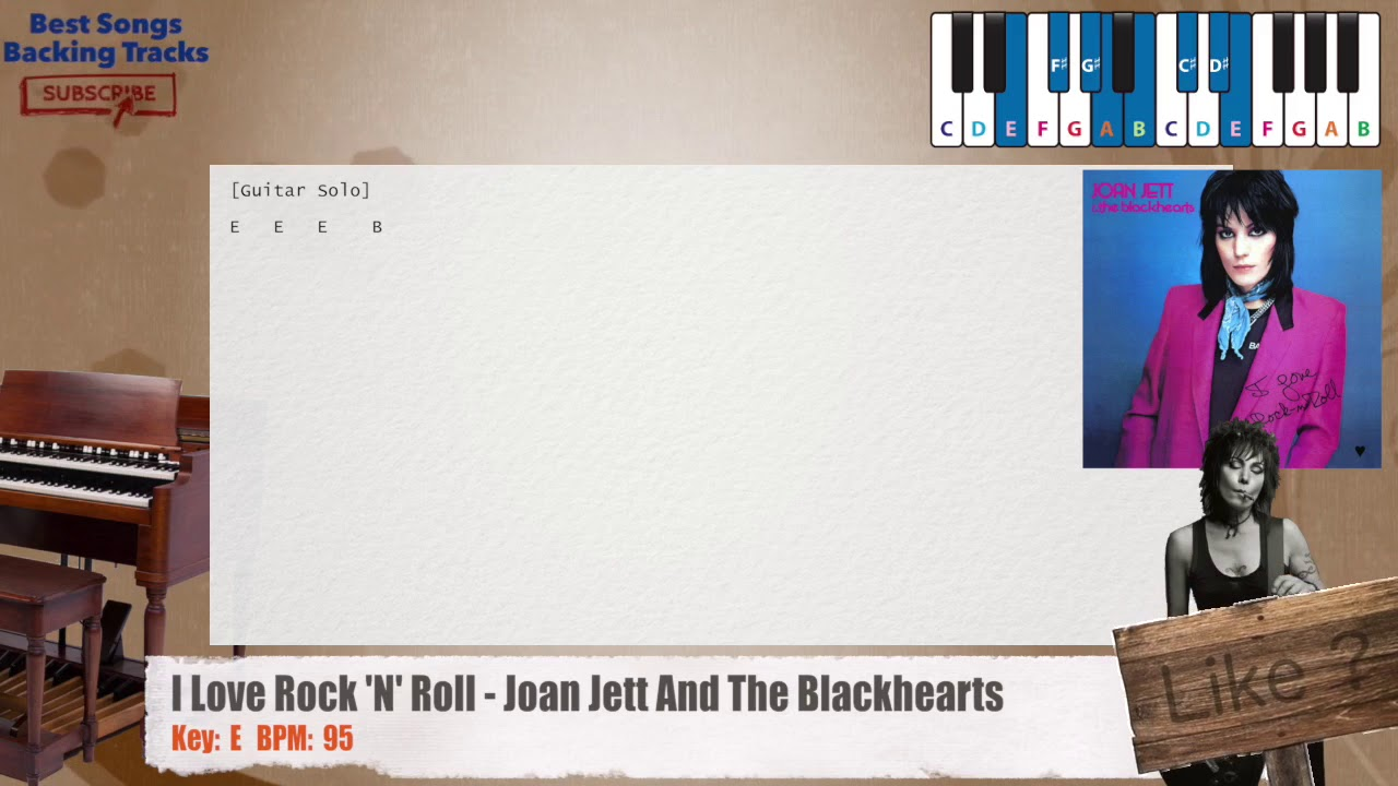 I Love Rock N Roll Joan Jett And The Blackhearts Piano Backing Track With Chords And Lyrics Youtube