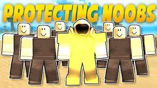 PROTECTING NOOBS IN BOOGA BOOGA | ROBLOX