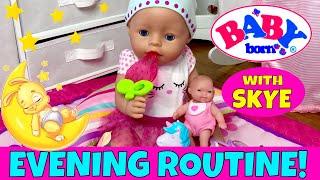 ⭐️Baby Born Ella's Evening Routine With Skye! 🍼Feeding, Changing, Potty Training & Bath Time!