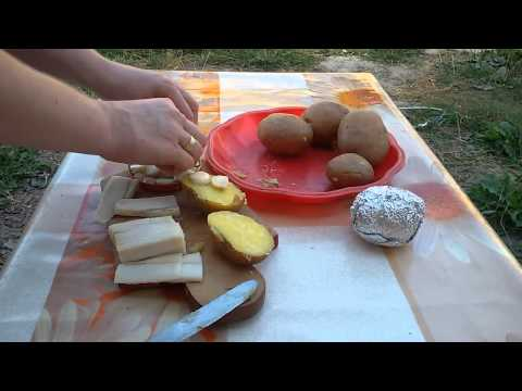 Киндер-картошка в фольге на углях с сюрпризом