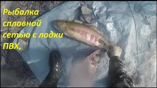 Рыбалка сплавной сетью с лодки ПВХ,(Здесь всё самое интересное в рыбалке сплавной сетью, это , выборка сети с уловом, пока не выберешь не узнаешь..., 2017-02-25T04:04:53.000Z)