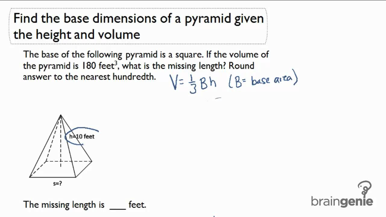 213 find the base dimensions of a pyramid given the height and 213 find the base dimensions of a pyramid given the height and volume ccuart Choice Image