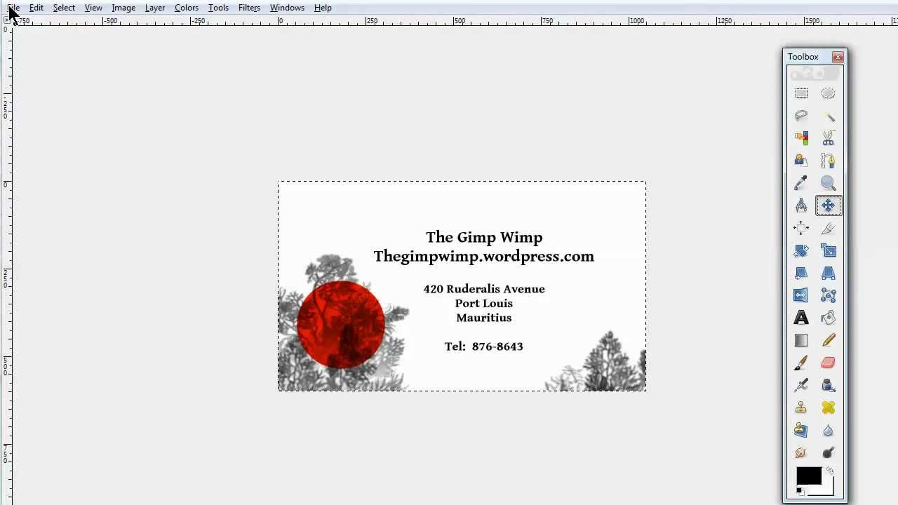 Custom business card in gimp 28 by the gimpwimp youtube colourmoves