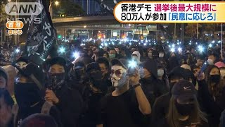香港デモ 区議会選挙後最大80万人が参加(19/12/09)