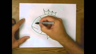 How to draw a piranha step by step