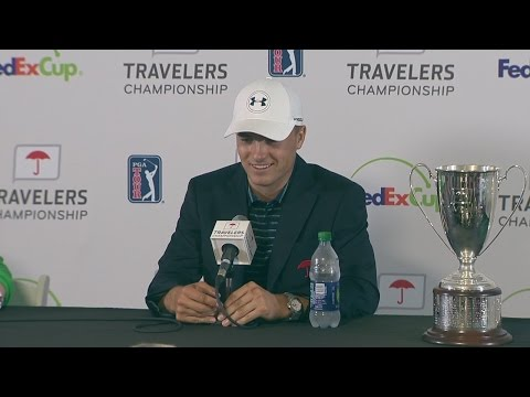 WATCH: Jordan Spieth's meets media after walk-off chip-in at Travelers Championship