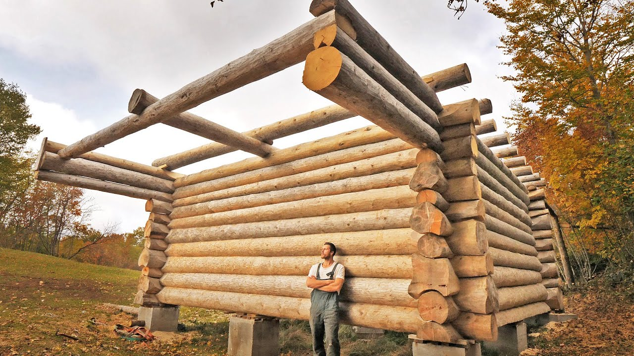 One Year of Log Cabin Building / One Man Building His Dream House