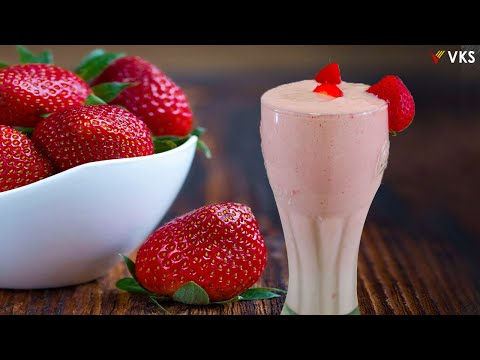 STRAWBERRY Milkshake   Healthy Breakfast Milkshake Recipe   Strawberry Smoothie   Kids Milkshakes
