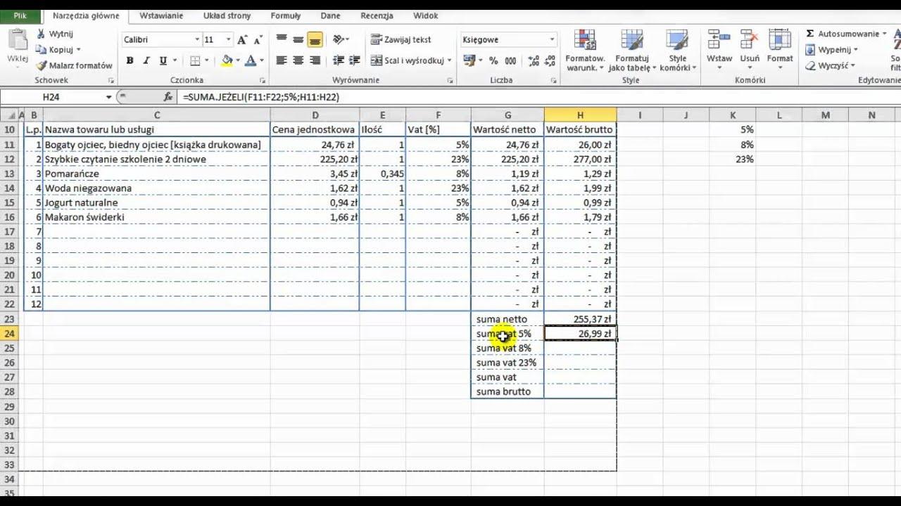 Microsoft Excel 2010 Faktura Vat Fragment Funkcja Suma Jeżeli
