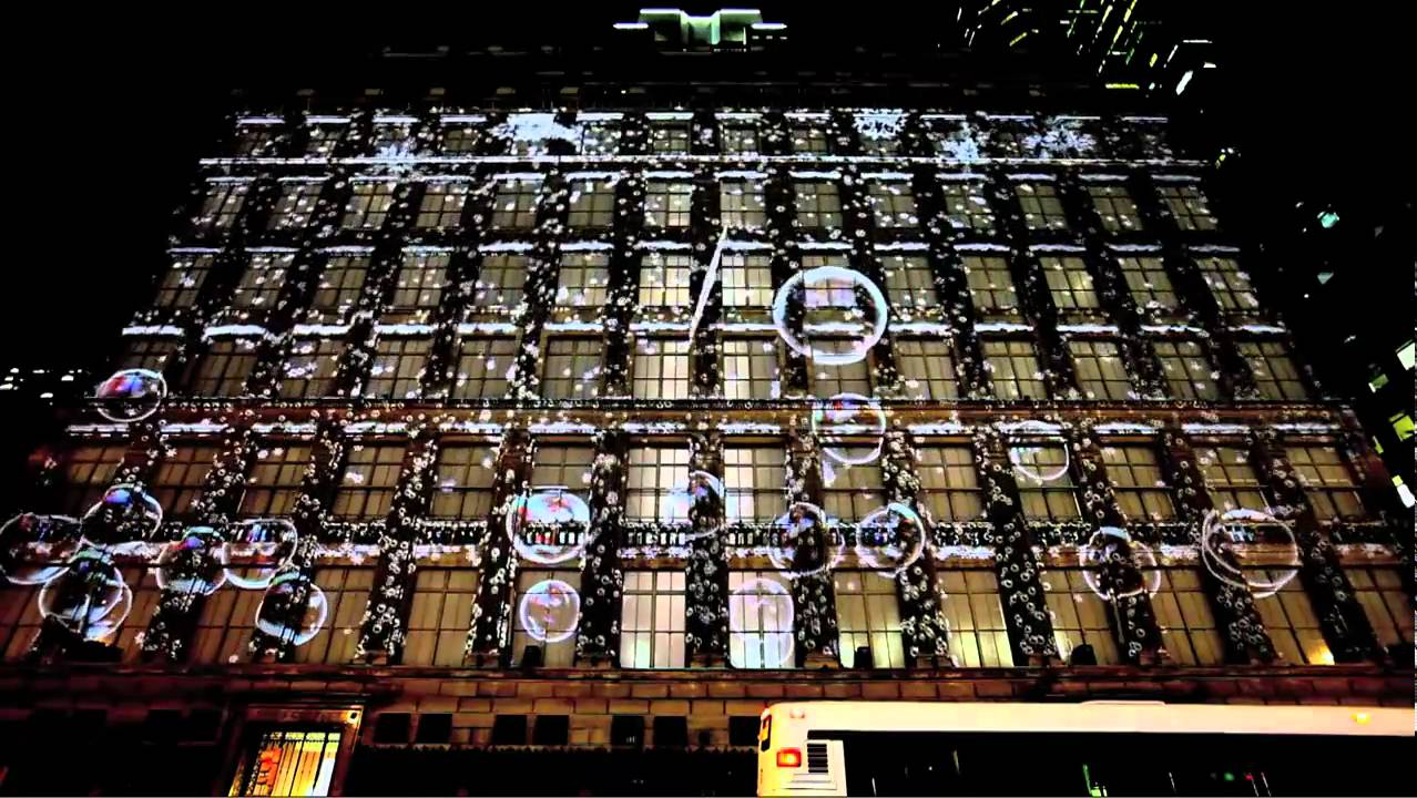 Saks Fifth Ave Snowflake Amp Bubble 3d Projection 2010 Youtube