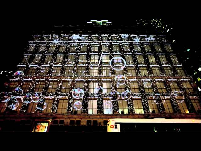 Saks Fifth Ave Snowflake & Bubble 3D projection 2010 Travel Video