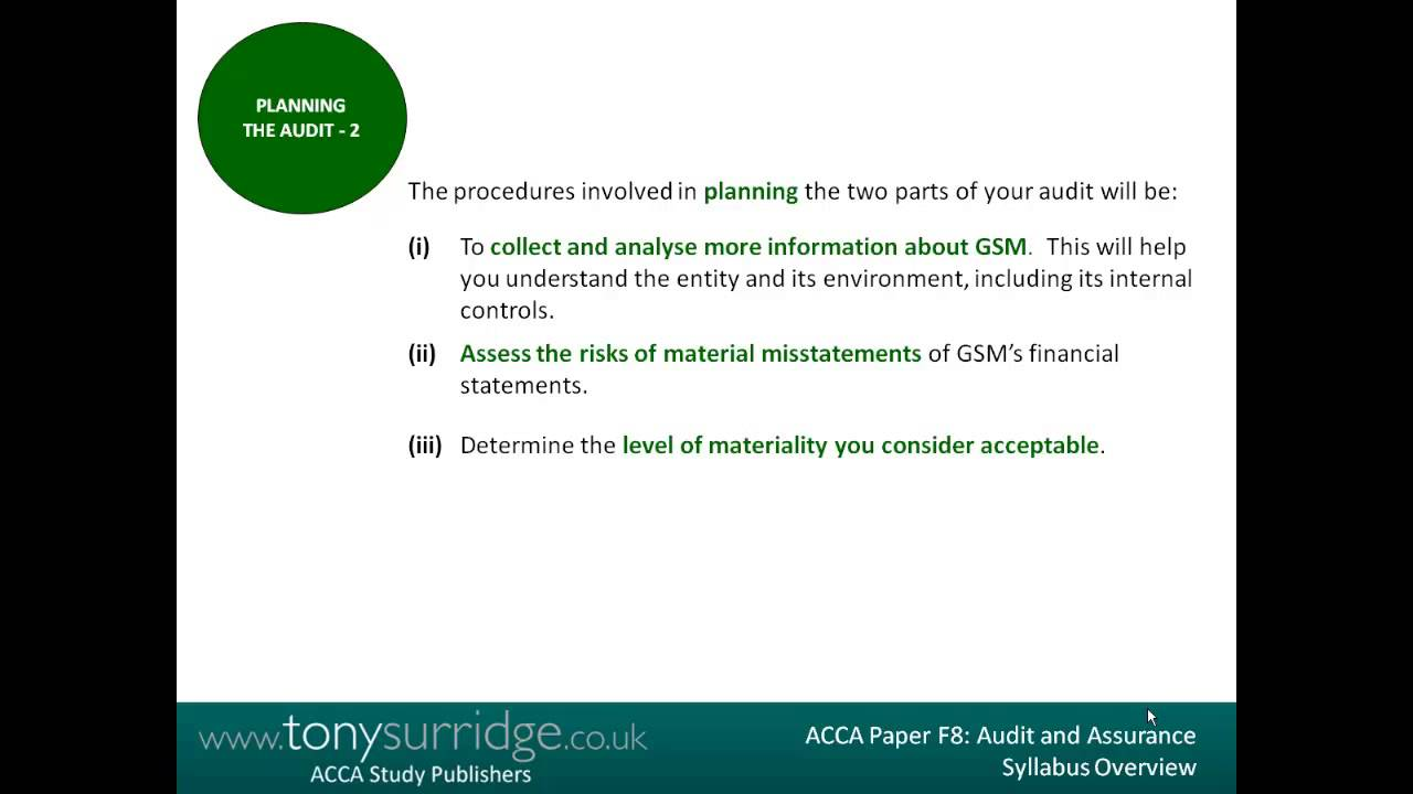 ACCA Paper F8 Overview - Audit and Assurance - by ACCA Study Publishers  TonySurridge co uk