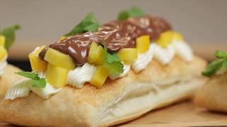 Десерт: Выпечка с Нутеллой, кремом и вкуснейшим манго.