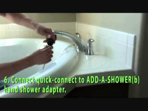 shower head that attaches to bathtub faucet.  How to ADD A SHOWER your roman tub faucet YouTube