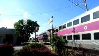 MBTA northbound commuter train through Bridgewater railroad crossing