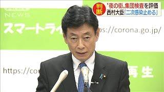 """西村大臣""""夜の街""""集団検査を評価 二次感染止める(20/06/15)"""