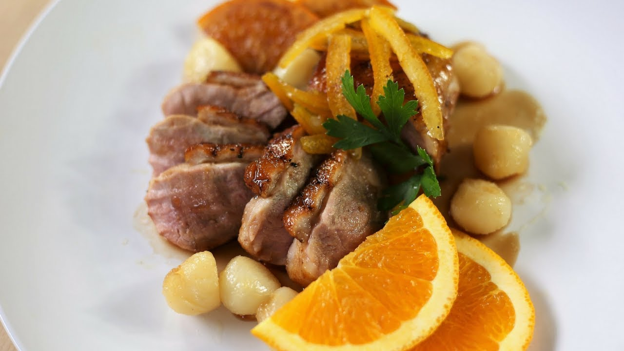 Citrus glazed duck breasts