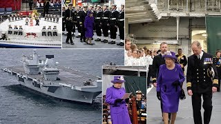When Lizzie meets Big Lizzie! The Queen welcomes HMS Queen into the Royal Navy