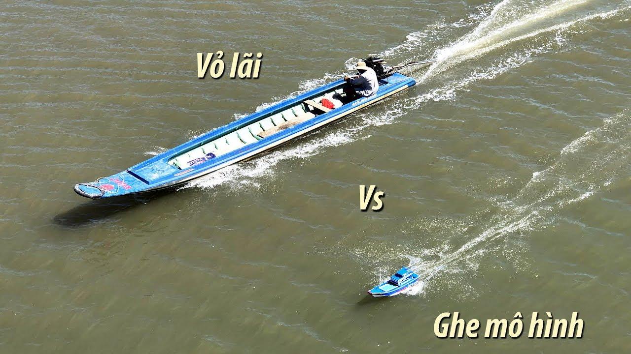 Ghe mô hình Motor 775 đua với vỏ lãi | Composite boat compared with the model