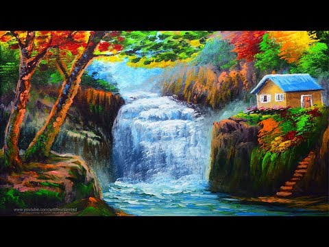 Acrylic painting tutorial Landscape with House in the Plateau | Water Falls with Basic autumn trees