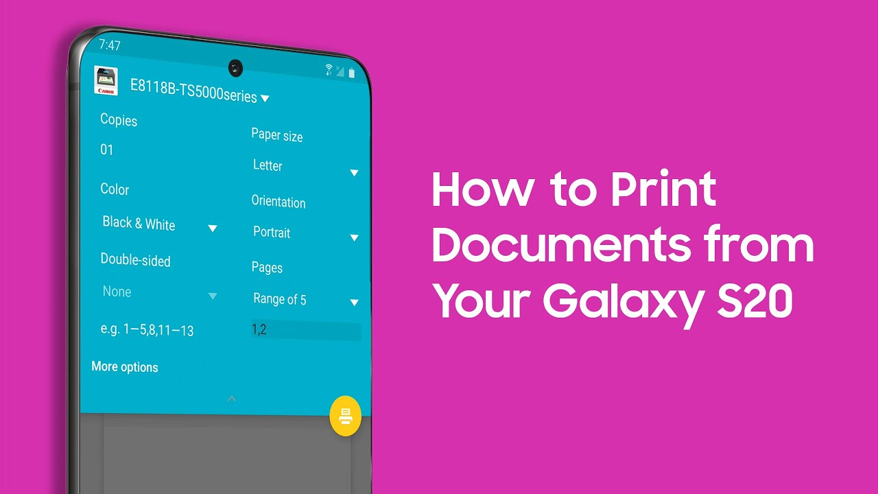 How to Print from Your Galaxy S20 Smartphone