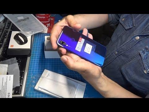 Распаковка Xiaomi Redmi Note 7 4/128 Global и Mi Band 3