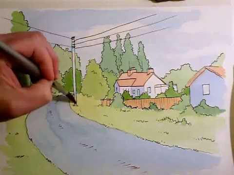 Ink & Watercolour Landscape