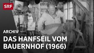 Bäuerliche Seilerei (1966) | Hanfseil-Herstellung auf einem Bauernhof in der Schweiz | SRF Archiv