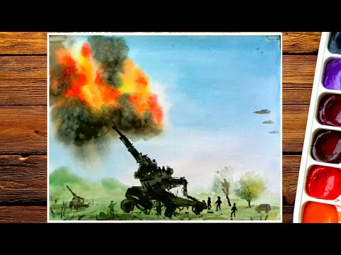 Kargil War Drawing By Water Color Indian Army Drawing Easy Youtube