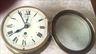 Original Large Smiths Empire Brass Bulkhead Ships Clock With Second Hand