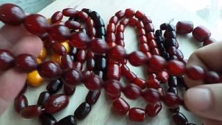 Обзор бусы бакелит и их имитация.  Как отличить бакелитовые бусы от подделки - Видео от Antikvar ТM