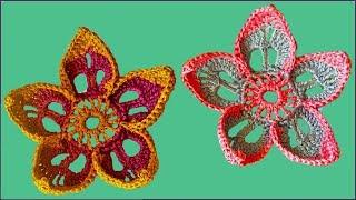 Цветок крючком. Простой цветок крючком. Вязание цветов крючком. Ч. 1 (Crochet Flower. P. 1)