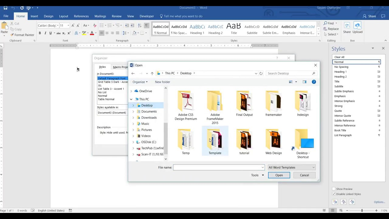 how to import style from ms word to ms word document or