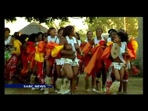 South African 'maidens' perform annual reed dance
