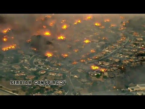 Aerial view-Burning, Ventura County Fire-Southern California Dec.2017