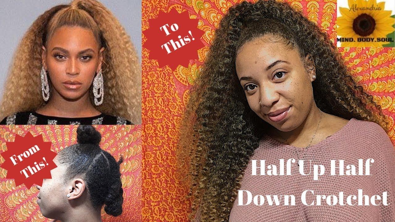 Beyonce Inspired Hair Half Up Half Down Braidless Crochet Detailed W Crotchet Hair Tips