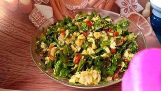 Правильное питание. Вкусный рецепт. Салат с рыбой и шпинатом.