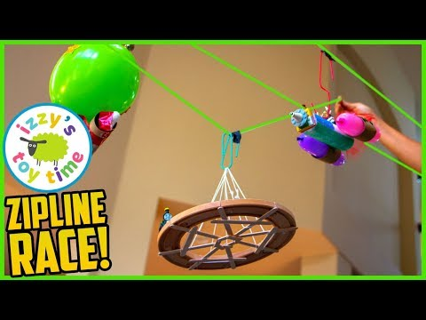 ZIPLINE LEGO TOY RACE?!? Learning and DIY Crafts with Izzy's Toy Time! Family Fun!