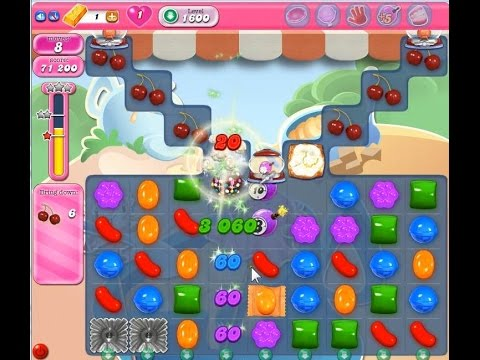 Candy crush saga level 1600 no booster youtube - 1600 candy crush ...