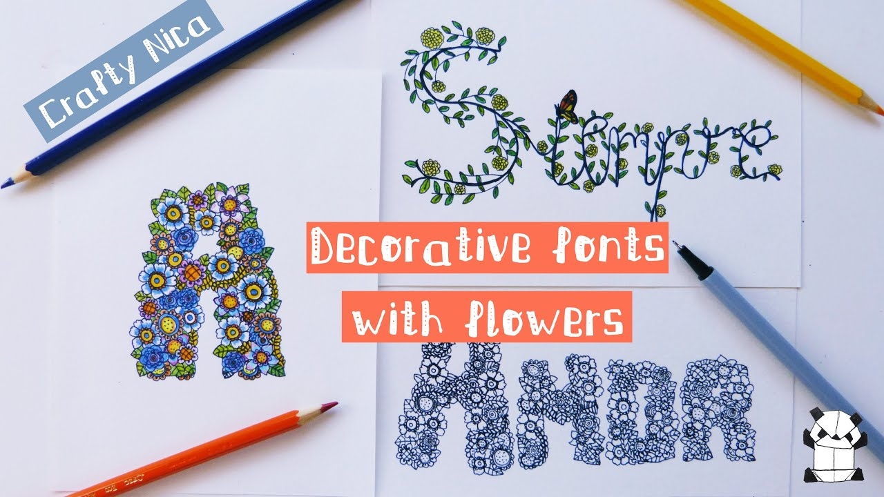 HOW TO DRAW DECORATIVE FONTS WITH FLOWERS  Doodle, doodling