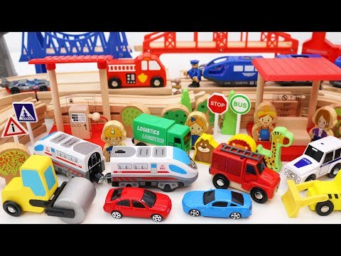 Wooden Train Set with Double Track Railway + More Toy Cars & Trucks