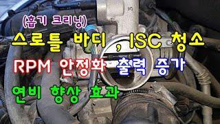 [자가정비] 스로틀 바디 , ISC 청소로 RPM 안정…