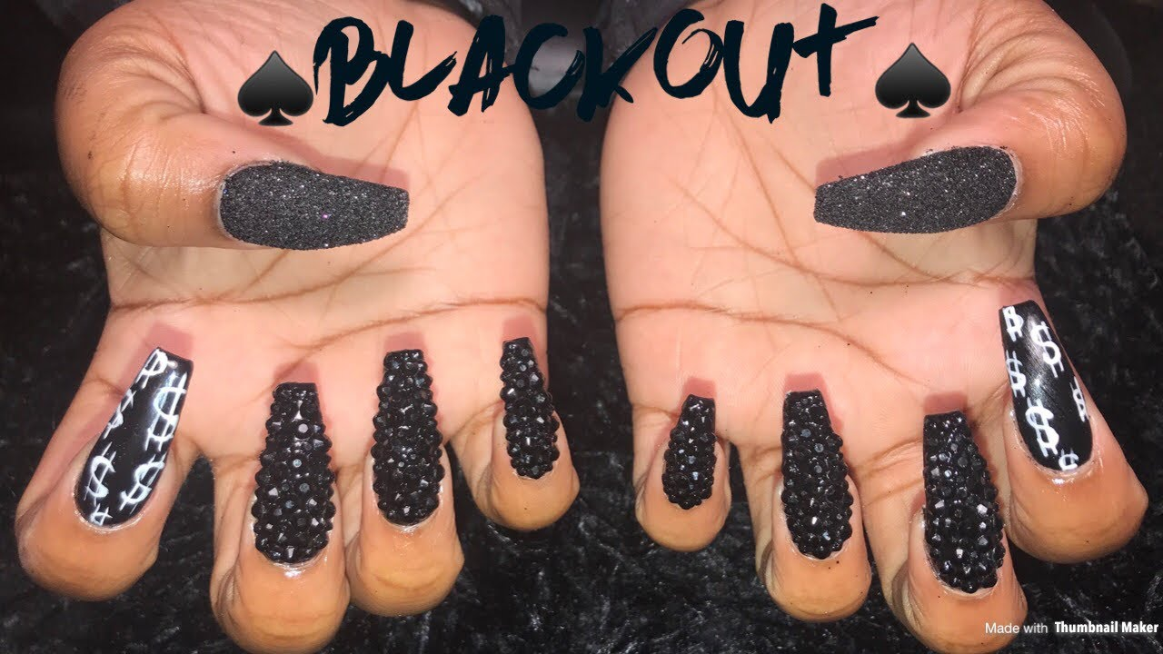 Black Bling Nails Acrylic Coffin Nails Youtube