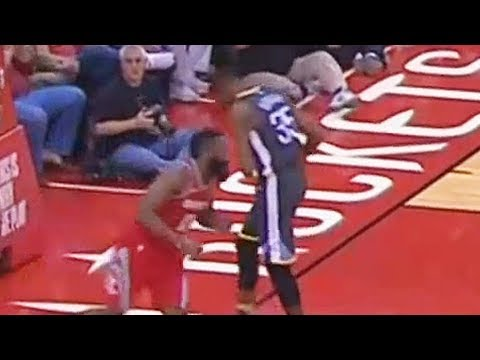 Kevin Durant ELBOWED By James Harden in the Stomach! Warriors vs Rockets January 20, 2018